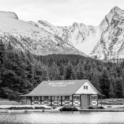 Picture of a boat house from Jasper tours with photographers Sunny & Jess of Deep Blue Photography